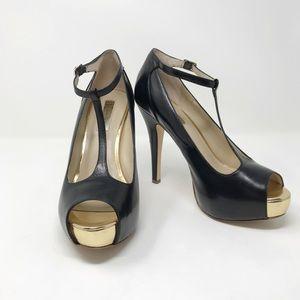 I-N-C Gold and Black T-Strap Heels